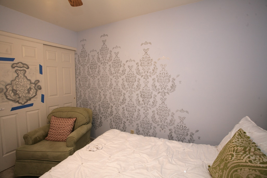 Damask stencil wall for daughters bedroom how to nest for Where can i get wallpaper for my room