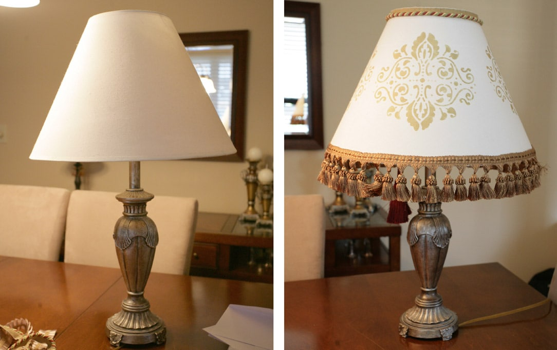 A before picture of the lamp prior to the tutorial and the after picture with the stencil, the tassels.