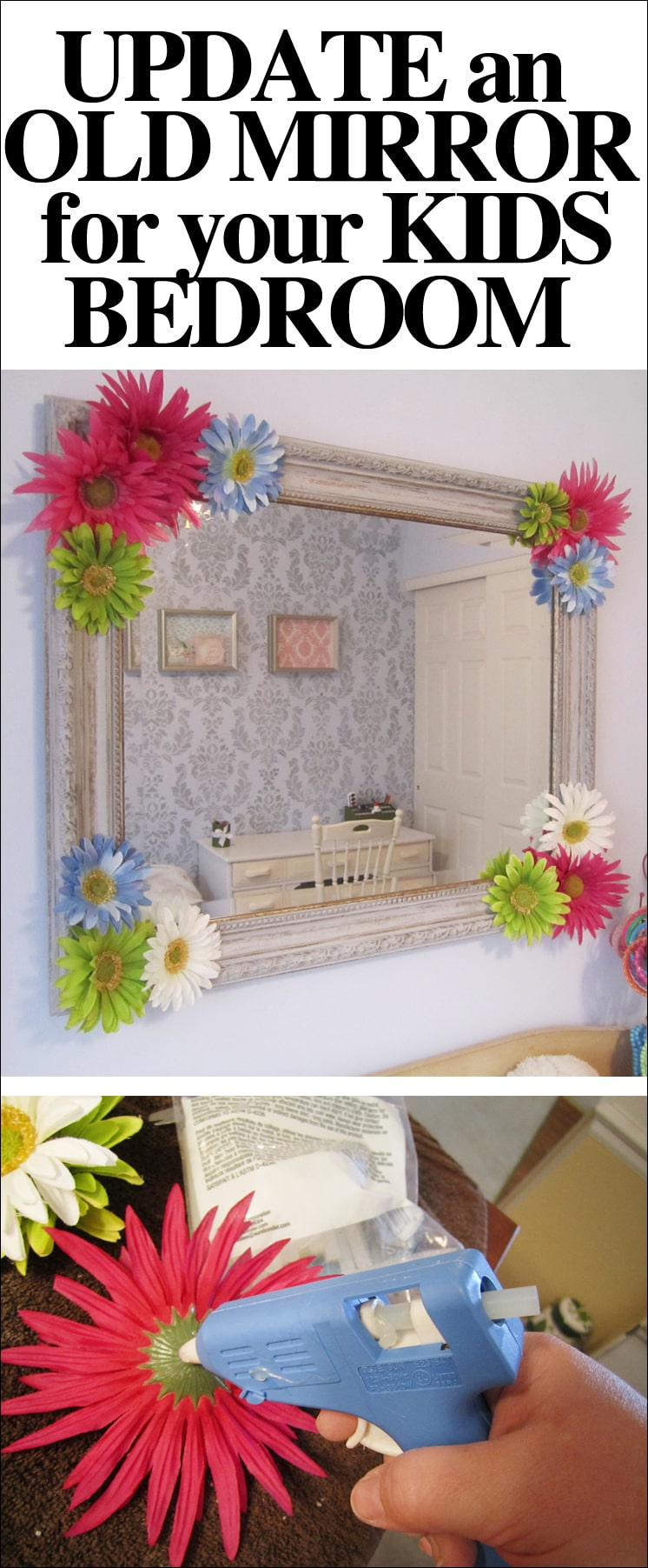 Embellished mirror for daughter 39 s room how to nest for less for Mirrors for kids rooms