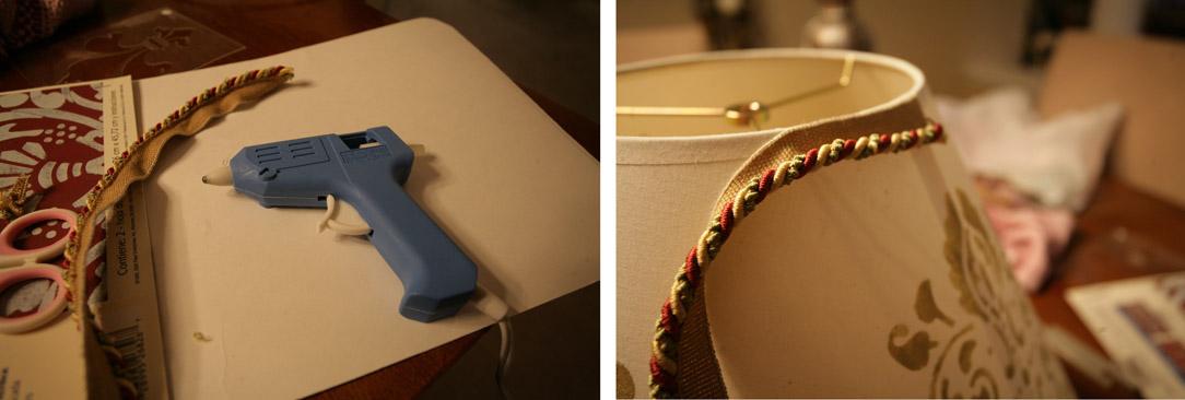 A glue gun on the table.