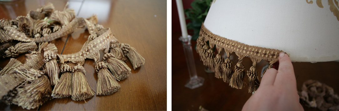 Gluing a gold tassel trim to the bottom of the light shade.