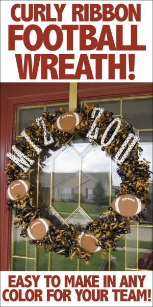 Curly ribbon football wreath.