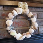 seashell wreath fireplace