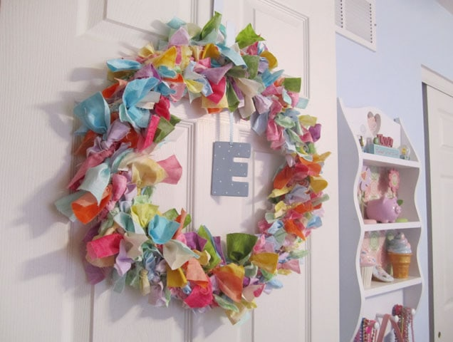 Bedroom Bling: Fabric Scrap Door Wreath