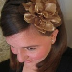 gold fabric flower headband