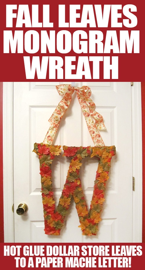 fall leaves door monogram wreath