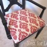 red damask fabric chair seat