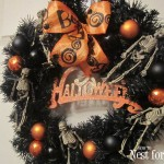 black halloween skeleton wreath
