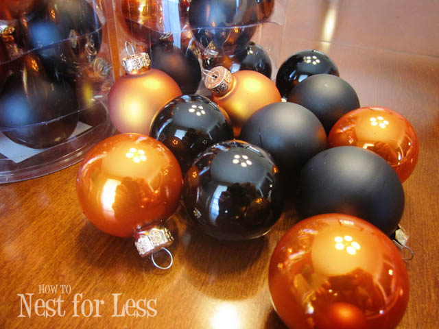 Black and orange glass ornaments.