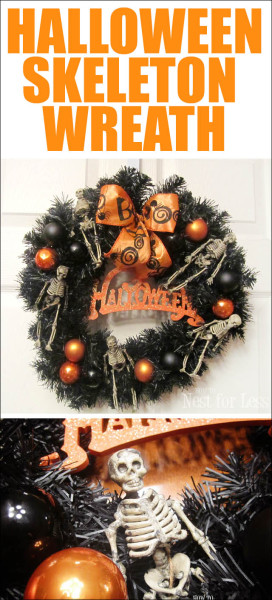 Halloween skeleton wreath poster.