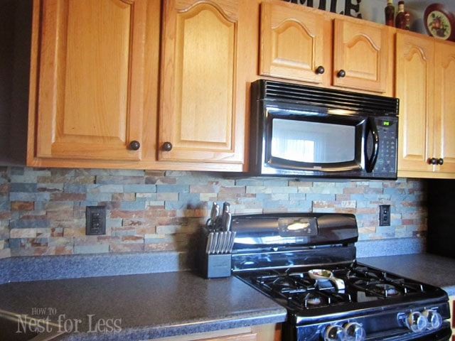 Kitchen Backsplash Stone stone kitchen backsplash - how to nest for less™