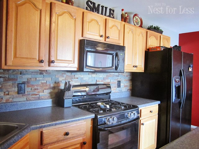 stone backsplash with oak cabinets kitchen backsplash how to nest for less 454