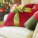 christmas ribbon pillow
