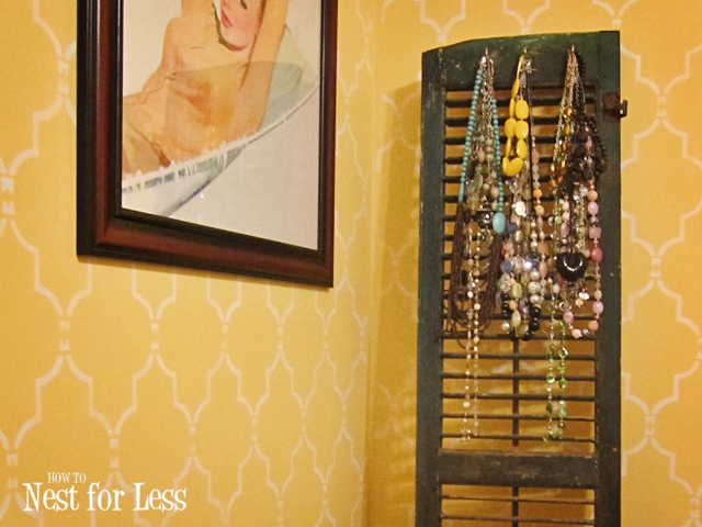 Old window shutter necklace holder how to nest for less for Window shutter crafts