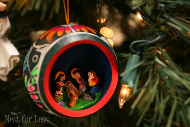 A Mary and Joseph tree ornament.