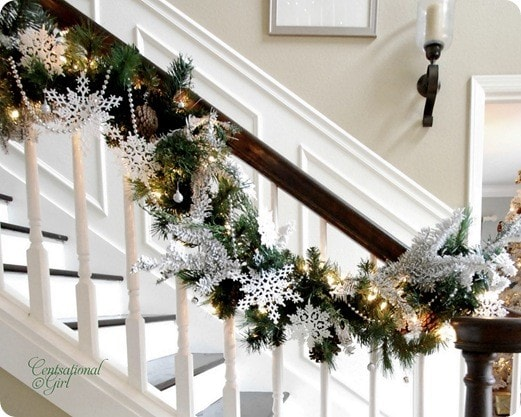 Get inspired christmas decor ideas how to nest for less for Stair railing decorated for christmas