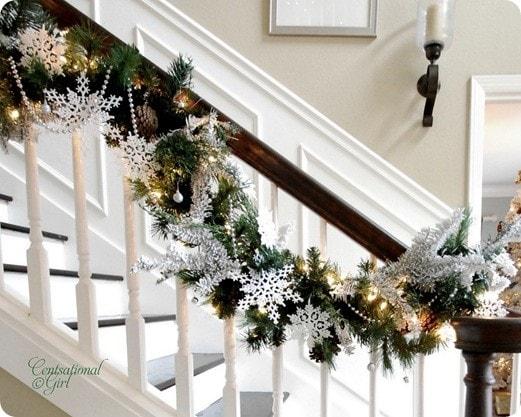 spindled railing christmas decor