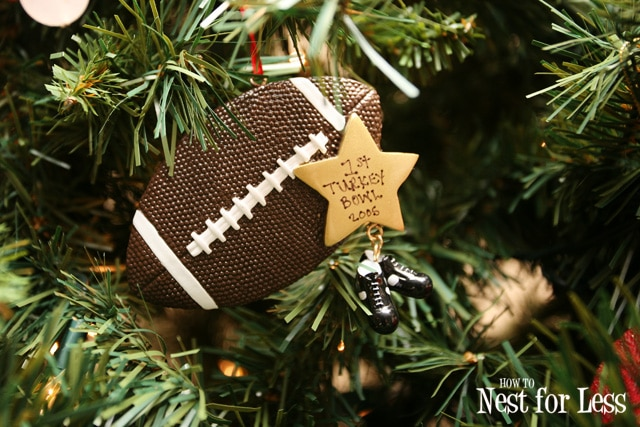 A football tree ornament.