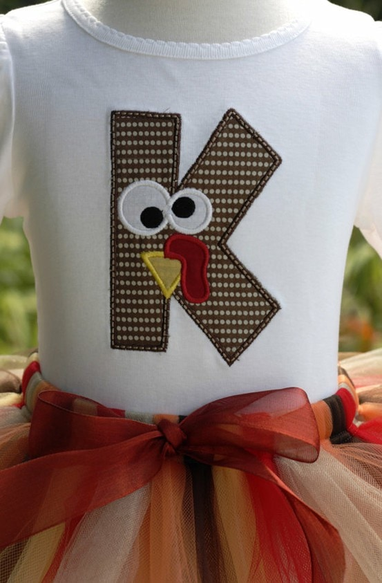 A turkey shirt and tutu for a little girl.