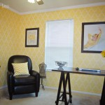 yellow stencil home office craft room