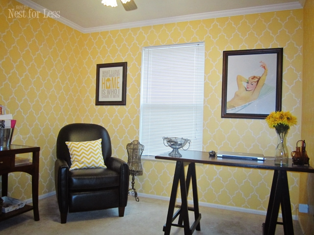 yellow stencil home office craft room - How to Nest for Less™