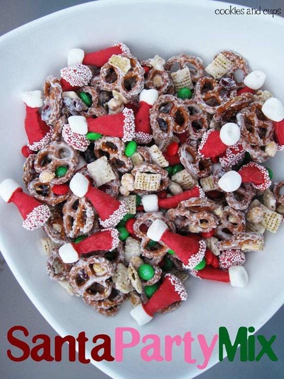 A Santa hat party mix with sugared pretzels.
