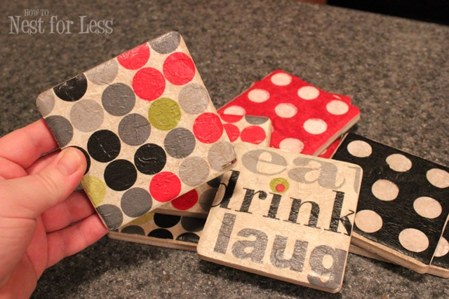 Handmade tile coasters from party napkins how to nest for Handmade drink coasters
