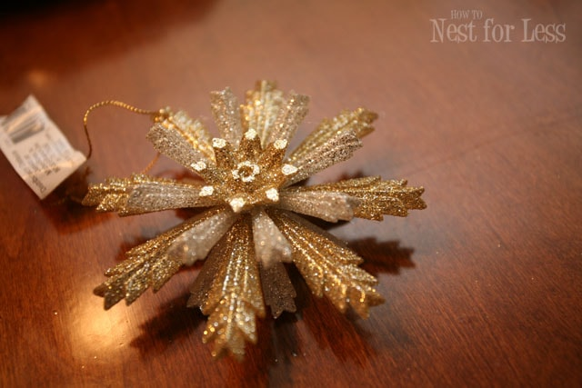 A gold snowflake ornament.