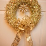 gold tinsel christmas wreath detail