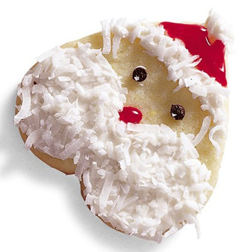 A cookie decorated as a Santa.