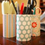 And the Organizing Continues: Scrapbook Paper Pencil Holders