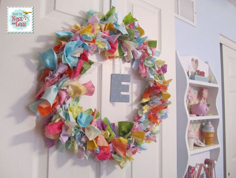 fabric scrap door wreath
