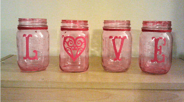 Pink LOVE Mason Jars {From Newlyweds on a Budget}
