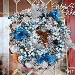 Winter Silver & Blue Pinecone Wreath