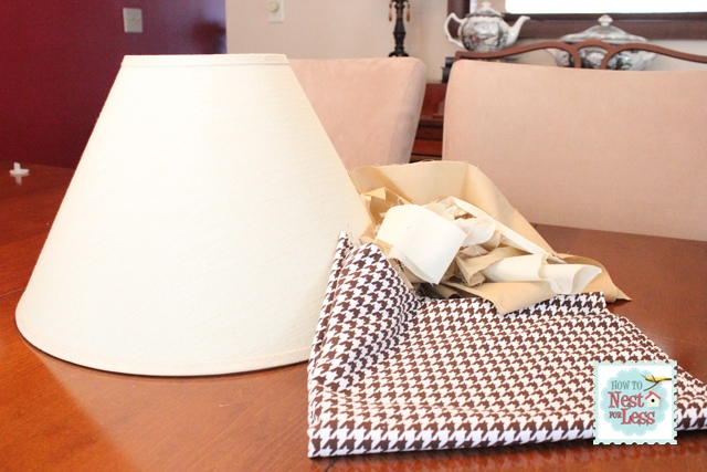 Fabric covered rosette lamp shade and how to make a rosette again i used butcher paper to make a template for my lamp shade mozeypictures Image collections
