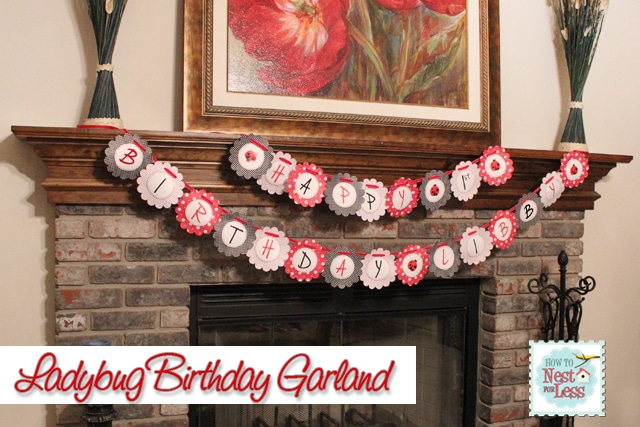 Happy Birthday ladybug garland.