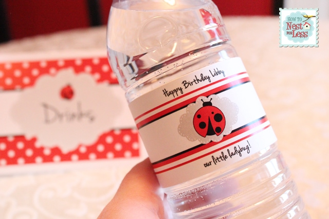 Up close picture of the water bottle with the ladybug printable on it.
