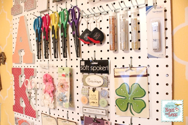 Craft room peg board scrapbook paper letters how to for Craft room pegboard accessories