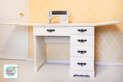 sewing desk open painted