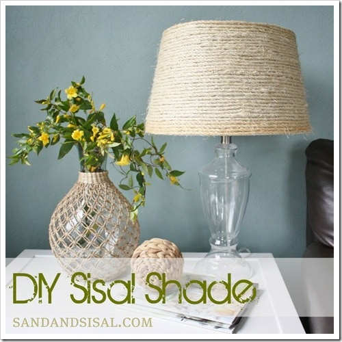 Get inspired lamp makeover ideas how to nest for less fabric flower lamp shade from the diy dish sisal aloadofball Gallery