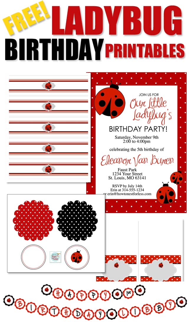 Ladybug Themed Birthday Party with FREE Printables How to Nest – Ladybug Invitations 1st Birthday