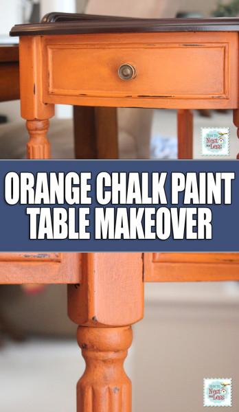 orange chalk paint table