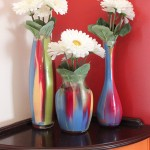 painted glass vases flowers