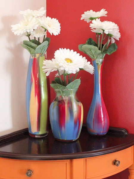 Brainstorm Painted glass vases