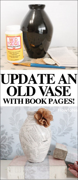 BOOK PAGES VASE