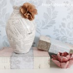 book pages burlap flower vase