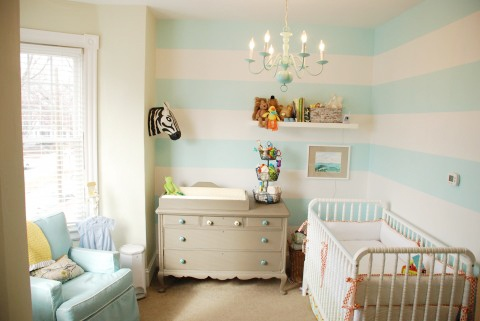 Cheap Bedroom Furniture Packages Striped Nursery Walls from Boots & Totty (via Chic & Cheap Nursery )