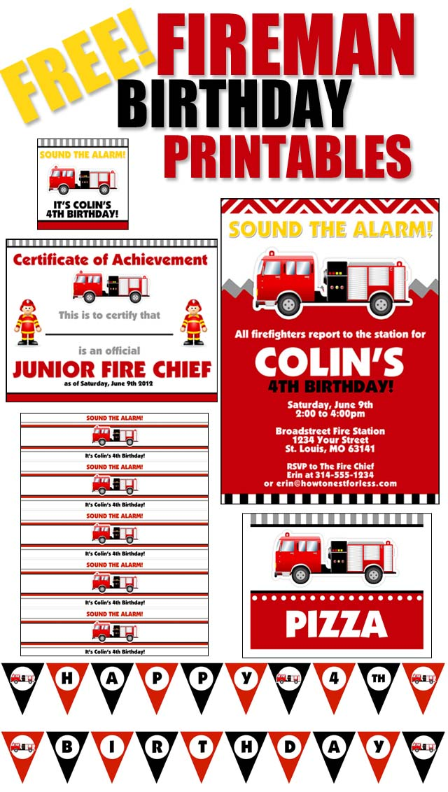 Firetruck Themed Birthday Party with FREE Printables How to Nest – Firefighter Party Invitations