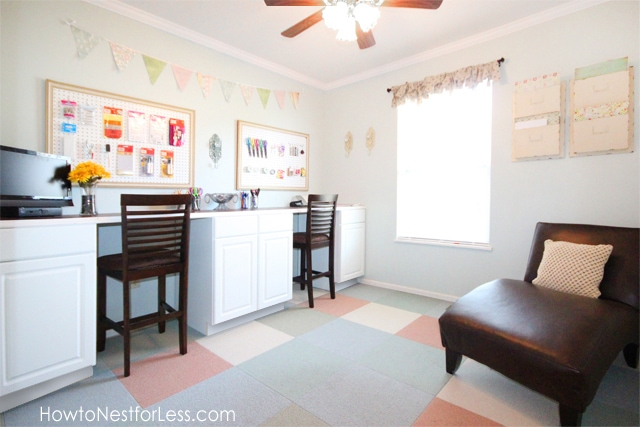 Craft room interior with desk, chairs and lounger.