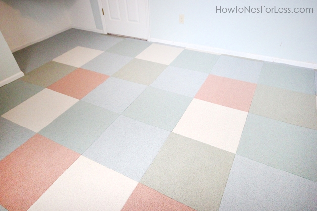 The craft room with the flor carpet tiles installed.